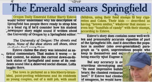 Harry Esteve Smears Springfield Oregon Residents